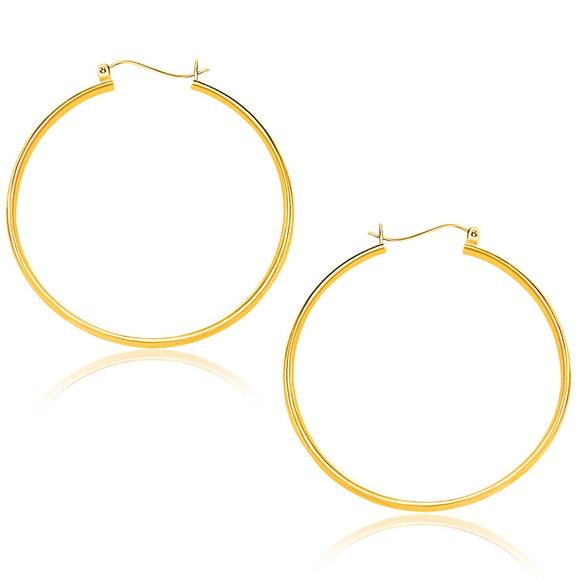 10K Gold Polished Hoop Earrings (40mm) - Fine Jewelry from Hamunaptra NY :: Exclusively at Mental XS Online