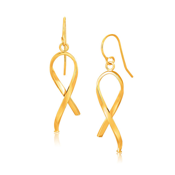 14K Gold Ribbon Style Dangling Earrings - Fine Jewelry from Hamunaptra NY :: Exclusively at Mental XS Online