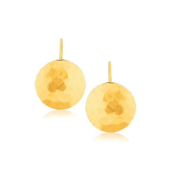 14K Gold Hammered Texture Disc Drop Earrings Medium - Fine Jewelry from Hamunaptra NY :: Exclusively at Mental XS Online