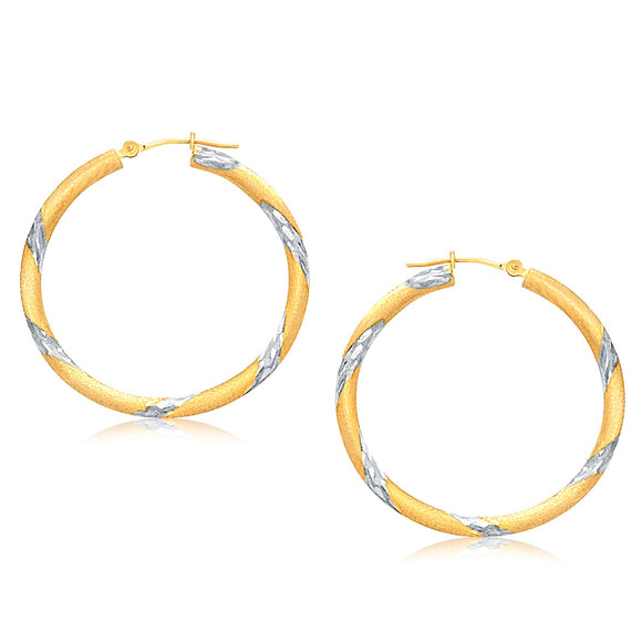 14K Two Tone Gold Polished Hoop Earrings (30 mm) - Fine Jewelry from Hamunaptra NY :: Exclusively at Mental XS Online