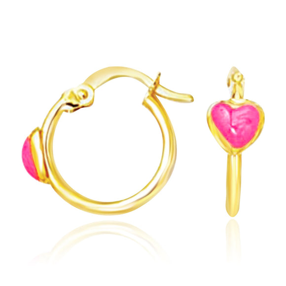 14K Gold Hoop Earrings with Front Pink Heart Design - Fine Jewelry from Hamunaptra NY :: Exclusively at Mental XS Online