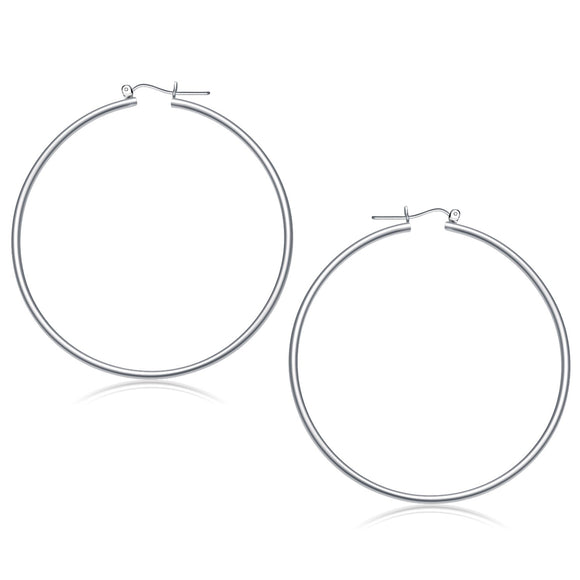 14K White Gold Polished Hoop Earrings (60 mm) - Fine Jewelry from Hamunaptra NY :: Exclusively at Mental XS Online
