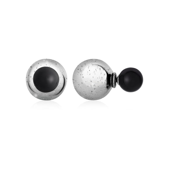 Textured Stud Earrings with Onyx in Sterling Silver - Fine Jewelry from Hamunaptra NY :: Exclusively at Mental XS Online