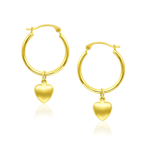 14K Gold Hoop Earrings with Dangling Puffed Heart - Fine Jewelry from Hamunaptra NY :: Exclusively at Mental XS Online