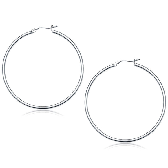 14K White Gold Polished Hoop Earrings (50 mm) - Fine Jewelry from Hamunaptra NY :: Exclusively at Mental XS Online