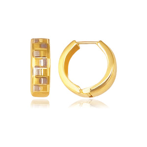 14K Gold Reversible Textured Hinged Hoop Huggie Earrings - Fine Jewelry from Hamunaptra NY :: Exclusively at Mental XS Online