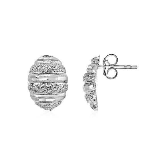 Domed Textured Oval Earrings in Sterling Silver - Fine Jewelry from Hamunaptra NY :: Exclusively at Mental XS Online