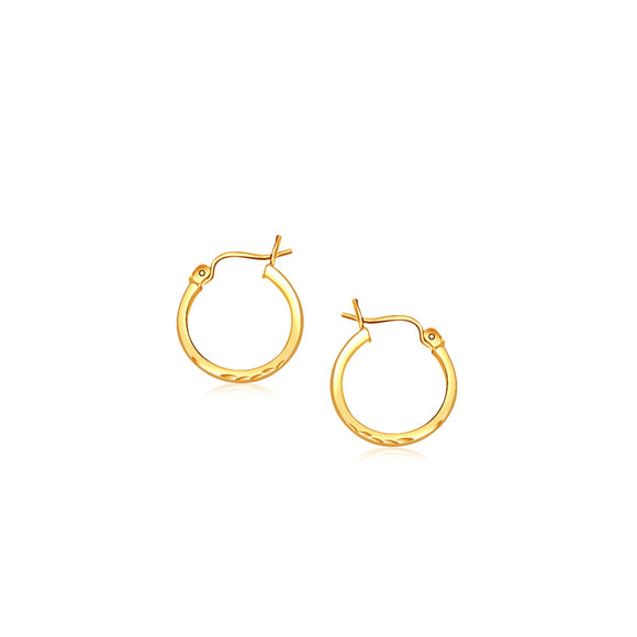 14K Gold Slender Hoop Earring with Diamond-Cut Finish (15mm Diameter) - Fine Jewelry from Hamunaptra NY :: Exclusively at Mental XS Online