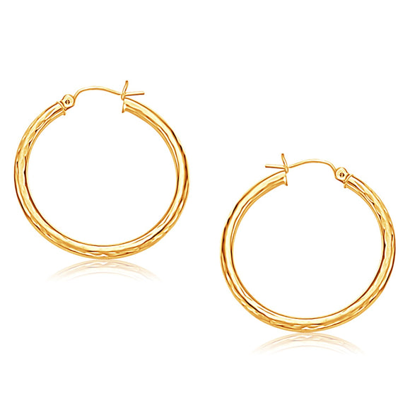 14K Gold Hoop Earring with Diamond-Cut Finish (30 mm Diameter) - Fine Jewelry from Hamunaptra NY :: Exclusively at Mental XS Online