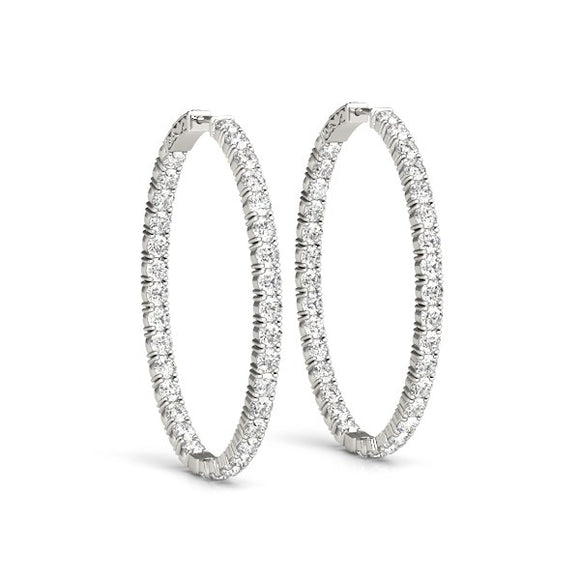 Oval Shape Two Sided Diamond Hoop Earrings in 14K White Gold (2 ct. tw.) - Fine Jewelry from Hamunaptra NY :: Exclusively at Mental XS Online
