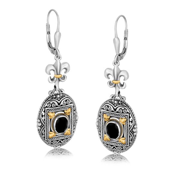 18K Gold and Sterling Silver Earrings with Framed Black Onyx Accents - Fine Jewelry from Hamunaptra NY :: Exclusively at Mental XS Online