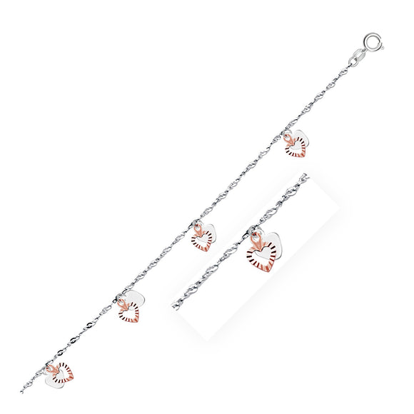 14K White and Rose Gold Anklet with Dual Heart Charms - Fine Jewelry from Hamunaptra NY :: Exclusively at Mental XS Online
