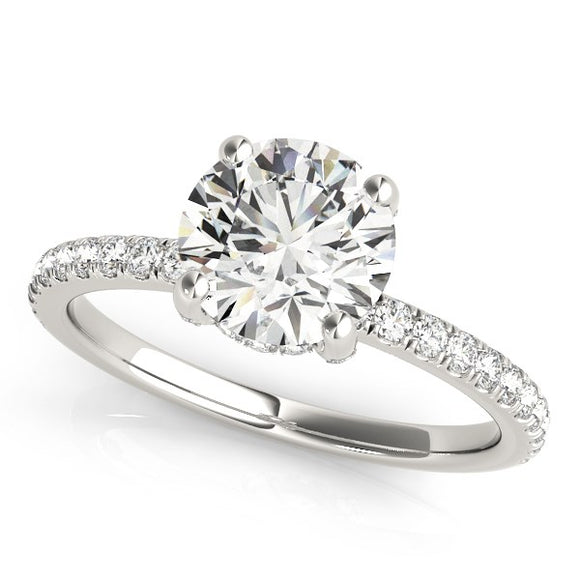 14K White Gold Scalloped Single Row 2 1/4 ct Diamond Engagement Ring