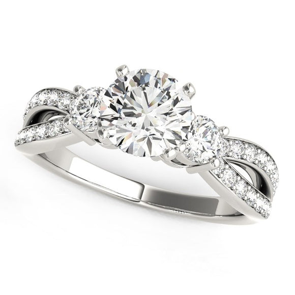 14K White Gold Split Shank 1 5/8 ct Round Diamond Engagement Ring