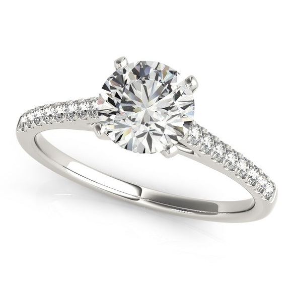 14K White Gold Pronged 1 5/8 ct Round Diamond Engagement Ring