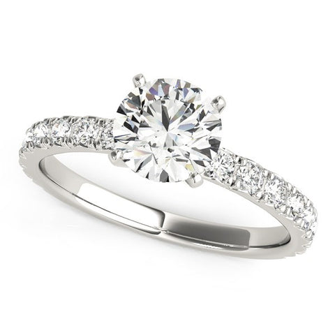 14K White Gold Single Row Shank 1 1/3 ct Diamond Engagement Ring