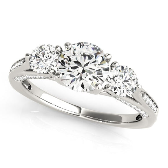 14K White Gold 3 Stone Style Round 1.75 ct Diamond Engagement Ring