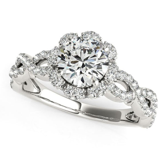 14K White Gold Flower Motif 1 5/8ct Diamond Engagement Ring