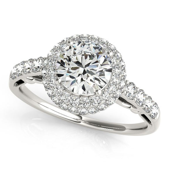 14K White Gold Double Halo Round 1.5 ct Diamond Pave Engagement Ring