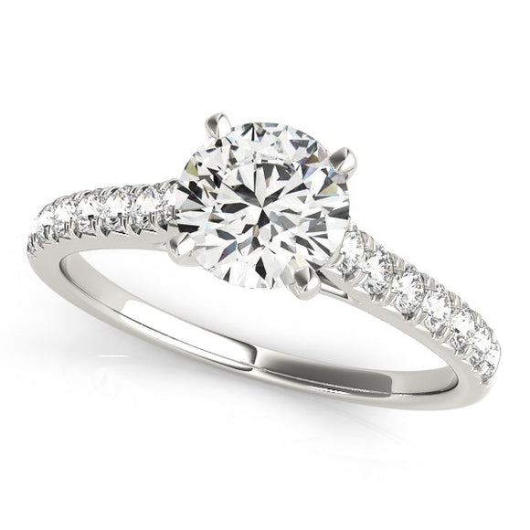 14K White Gold Round Single Row 1 1/3 ct Diamond Engagement Ring