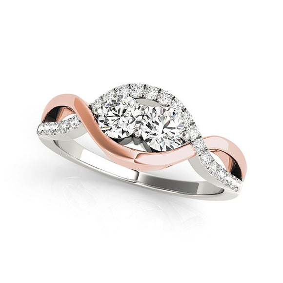 14K White And Rose Gold Infinity Style Two Stone 5/8 ct Diamond Ring
