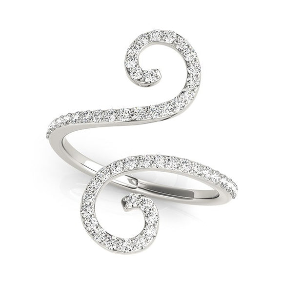 14K White Gold 1/2 ct Diamond Open Flourish Style Ring