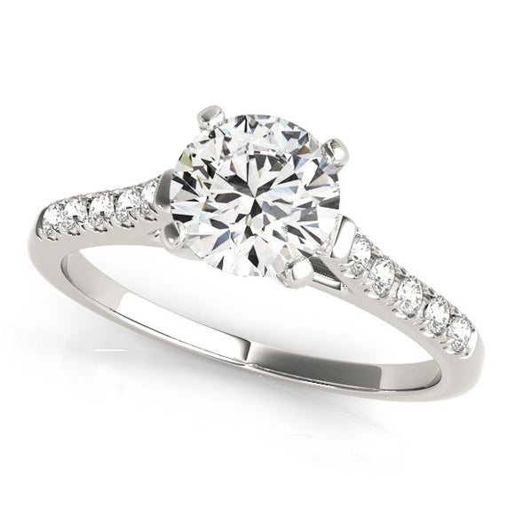 14K White Gold Cathedral Design 1 1/8 ct Diamond Engagement Ring