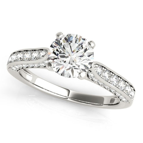 14K White Gold Round Cathedral 1.5 ct Diamond Engagement Ring