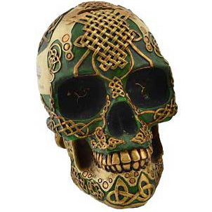 Green Celtic Skull Money Bank