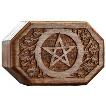 Octagonal Pentacle Wooden Box 6