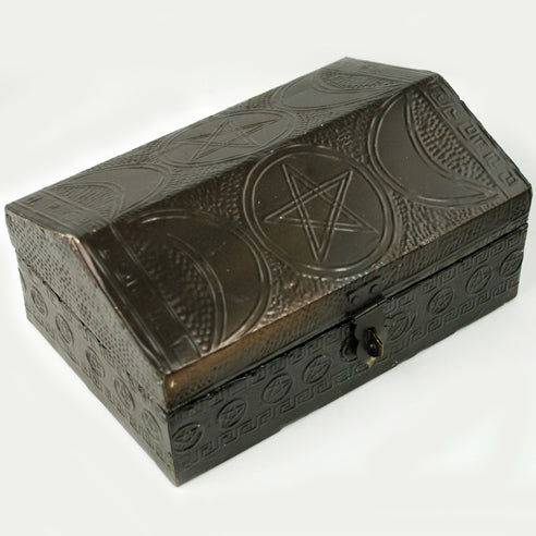 Triple Moon Pentacle Wooden Box 4