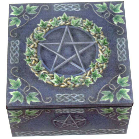 Pentacle Mirror Square Wooden Box 4