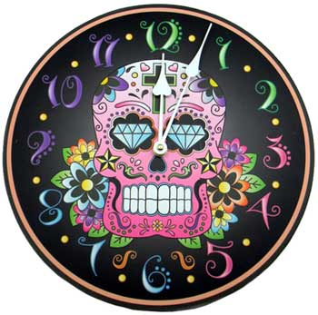 Day of The Dead Pink Skull Clock