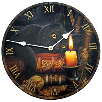 Witching Hour Black Cat Clock