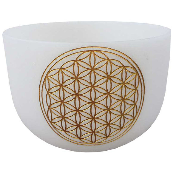 White Flower of Life Crystal Singing Bowl 18