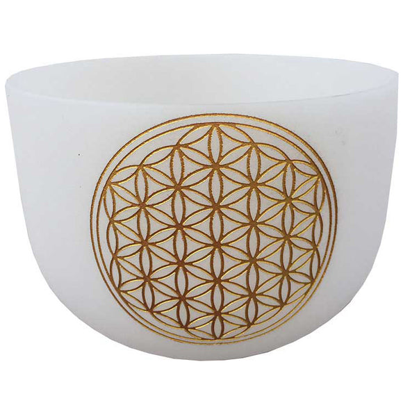 White Flower of Life Crystal Singing Bowl 20
