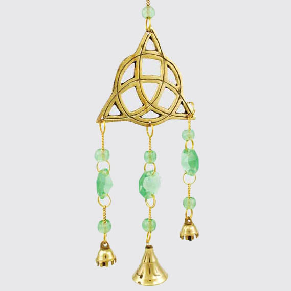 Triquetra with Green Beads Brass Windchime 11