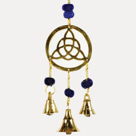 Triquetra with Blue Beads Brass Windchime