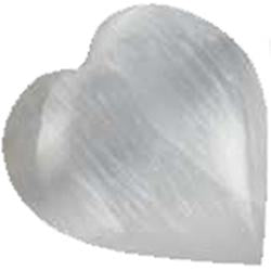 White Selenite Gemstone Heart 1¼
