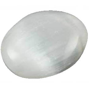 White Selenite Oval Gemstone 2""