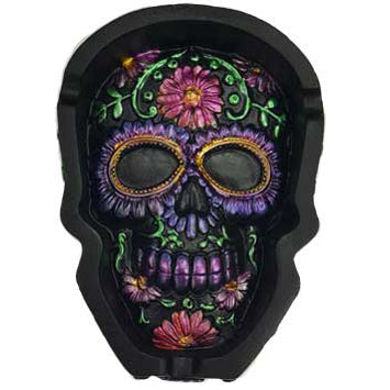 Day of The Dead Purple Metallic Skull Cold-Cast Resin Ashtray