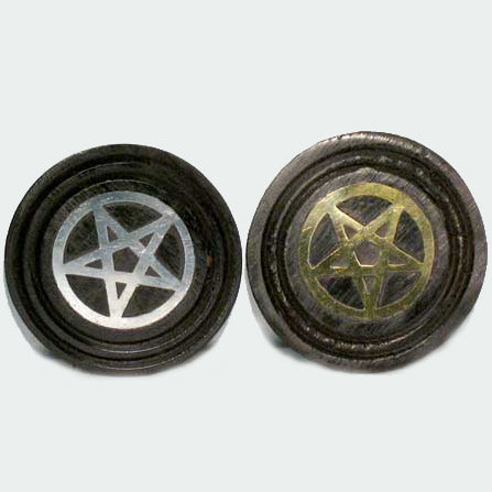 Black Wooden Coaster with Inlaid Pentacle (Gold or Silver)