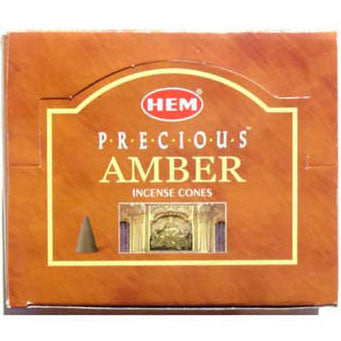 Amber HEM Incense Cones - 10 pack