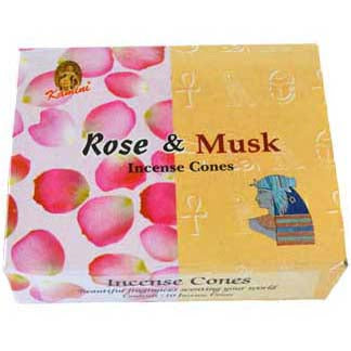 Kamini Aromatics Rose & Musk Incense Cones - 10 pack
