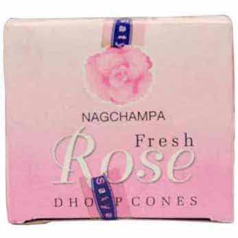 Satya Sai Baba Nag Champa Fresh Rose Dhoop Incense Cones - 12 pack