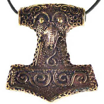 Thor's Hammer Mjolnir with Ravens Head Carved Bronze Pendant (has cord)