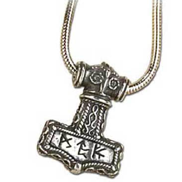 Thor's Hammer Mjolnir with Bindrune Pendant (has chain)