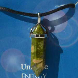 Crystal Energy Energy Unakite 6-faceted double terminated crystal Pendant (has cord)