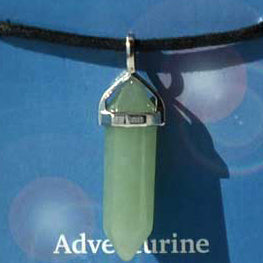 Crystal Energy Harmony Aventurine 6-faceted double terminated crystal Pendant (has cord)