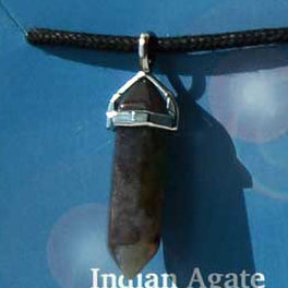 Crystal Energy Protection Indian Agate double terminated crystal Pendant (has cord)